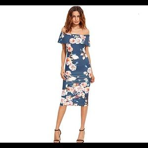 MakeMeChic floral off shoulder bodycon dress